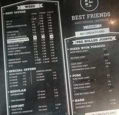 Цены в Амстердаме в кофешопе, Прайс-лист Кофешоп Best friends