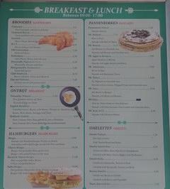 Цены на еду в Амстердамме в Нидерландах, Цены на завтраки и ланчи в кафе