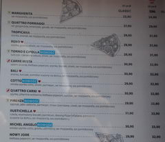Fast food in Warsaw, Pizzeria menu