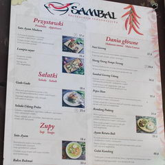 Prices in Warsaw restaurants, Indonesian cuisine