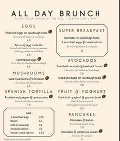 Food prices in London, Brunch menu