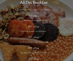 Inexpensive food in London in a cafe, Breakfasts