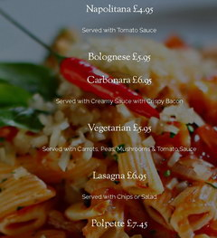 Inexpensive food in London in a cafe, Pasta