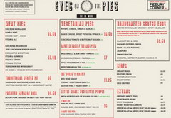 Prices in a cafe in London, pies in a pie shop