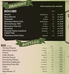 Prices for alcohol in British bars, Prices for beer