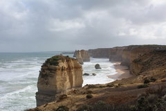 Great Ocean Road in Australia, a group of limestone cliffs in Port Campbell National Park