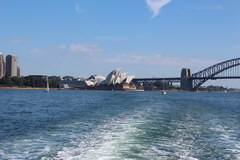Sights of Sydney, View of the Opera House from the ferry, sailing to Manly Beach