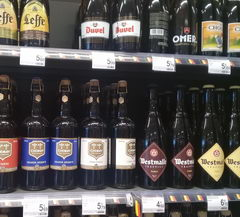Prices for beer in Belgium in the supermarket, Various beer 0.7l.