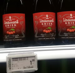 Beer prices in Belgium in the supermarket, Lindemans kriek