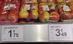 The cost of vegetables and fruits in Belgium, apples