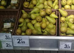 The cost of vegetables and fruits in Belgium, pears