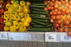 The cost of vegetables and fruits in Belgium, cucumbers, tomatoes
