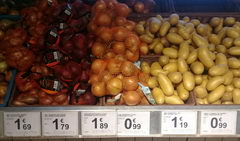 The cost of vegetables and fruits in Belgium, onions, potatoes
