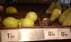 The cost of vegetables and fruits in Belgium, Cabbage