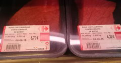 The cost of meat in Belgium, beef fillet in a supermarket