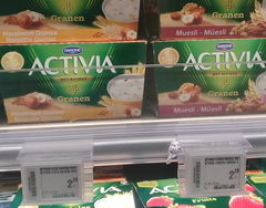 Prices in Belgium for dairy products, yogurt activia