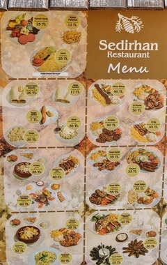 Prices for fast food in Cyprus, Prices in a Turkish restaurant