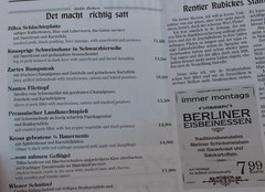 Prices in Berlin in Germany for food at restaurants and cafes