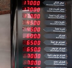 Prices for food in Lebanon in Beirut, Prices in kebabs