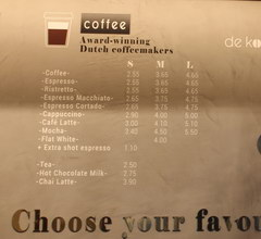 Food prices in Amsterdam in the Netherlands, Prices in a coffee shop