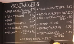 Dining and Drinking in Amsterdam in the Netherlands, Prices for sandwiches in a cafe