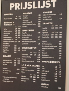 Food prices in Amsterdam, Prices in McDonalds