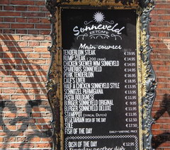 Amsterdam food and drink prices, Prices in a cafe-restaurant