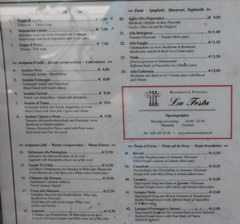 Amsterdam food and drink prices, Cost of meals in an Italian restaurant