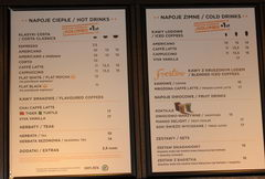 Prices in Poland in Warsaw, prices at a coffee shop