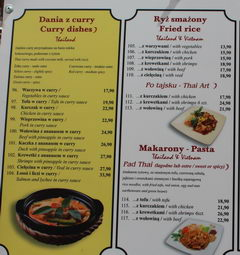 Prices in Warsaw restaurants, Thai cuisine