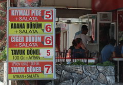 Prices in Turkey in Antalya for food, a cafe for locals