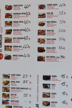 Prices in Turkey in Antalya for food, Cafe and menu in English, main dishes