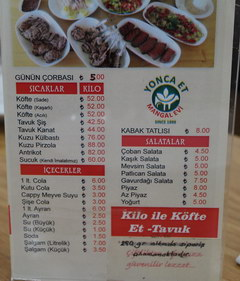 Prices in Turkey in Antalya for food, Prices for dishes by weight for 1 kg